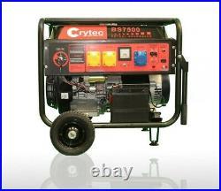 CRYTEC Key Start Petrol Generator Electric 110/230V 6.5KW Quiet Camping Power