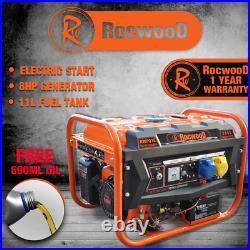 Petrol Generator Portable 2800W RocwooD 110v 4Stroke 8HP Electric Start FREE Oil